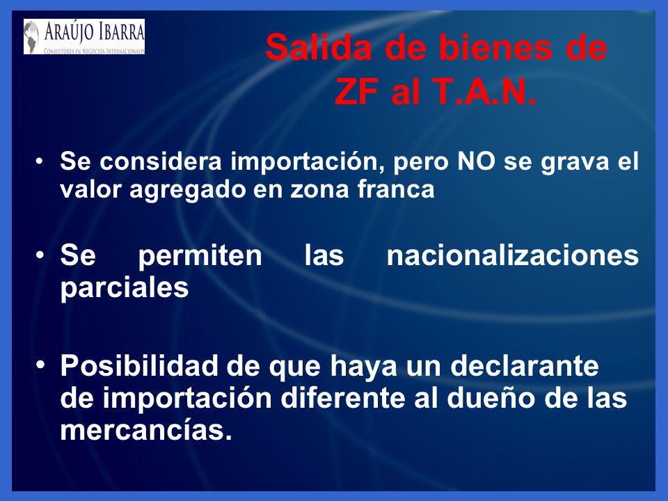Salida de bienes de ZF al T.A.N. Se considera importación, pero NO se grava el valor agregado en zona franca Se permiten las nacionalizaciones parcial