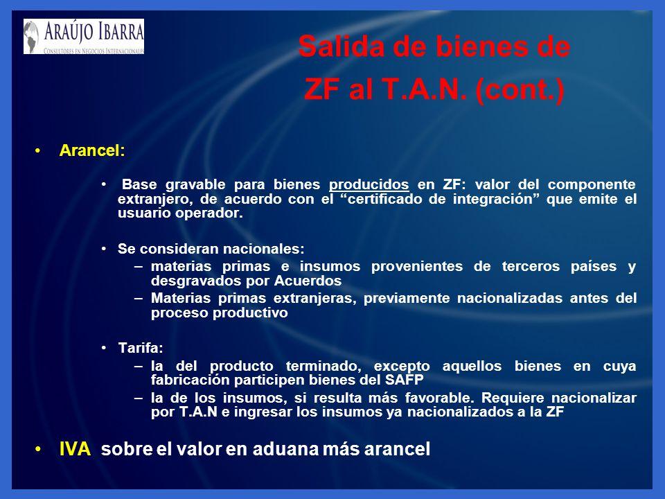 Salida de bienes de ZF al T.A.N. (cont.) Arancel: Base gravable para bienes producidos en ZF: valor del componente extranjero, de acuerdo con el certi
