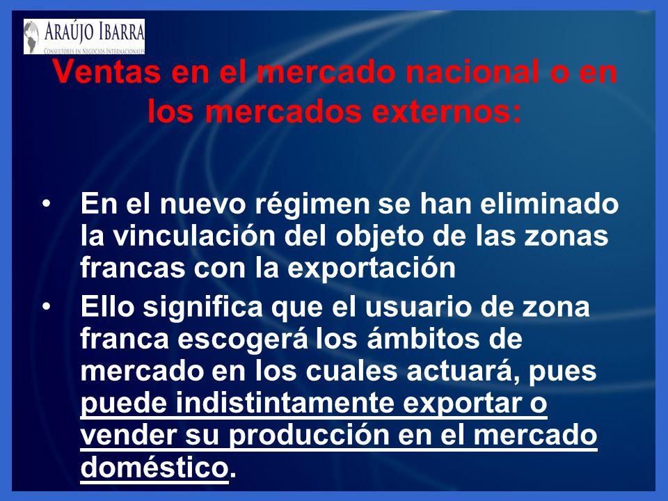 En el nuevo régimen se han eliminado la vinculación del objeto de las zonas francas con la exportación Ello significa que el usuario de zona franca es
