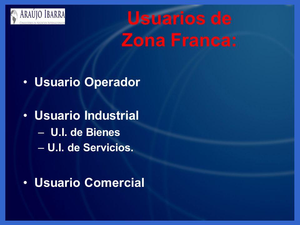 Usuarios de Zona Franca: Usuario Operador Usuario Industrial – U.I. de Bienes –U.I. de Servicios. Usuario Comercial