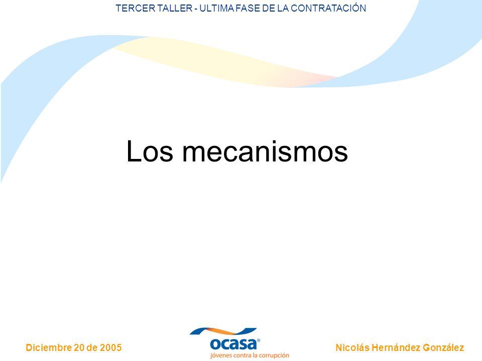 Nicolás Hernández González Diciembre 20 de 2005 TERCER TALLER - ULTIMA FASE DE LA CONTRATACIÓN Los mecanismos