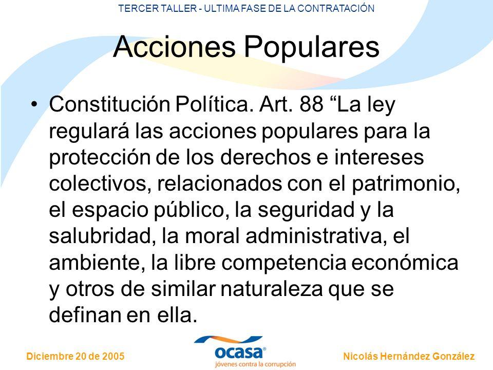 Nicolás Hernández González Diciembre 20 de 2005 TERCER TALLER - ULTIMA FASE DE LA CONTRATACIÓN Acciones Populares Constitución Política. Art. 88 La le