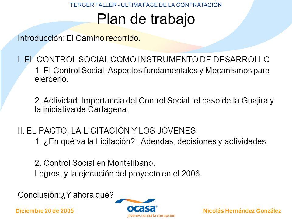 Nicolás Hernández González Diciembre 20 de 2005 TERCER TALLER - ULTIMA FASE DE LA CONTRATACIÓN Plan de trabajo Introducción: El Camino recorrido. I. E