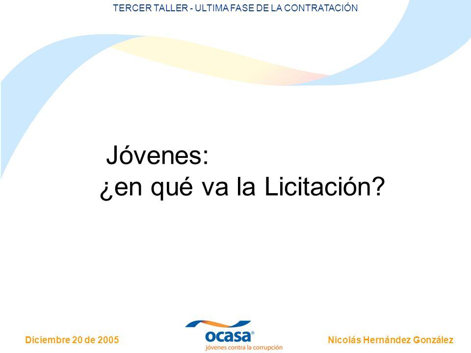 Nicolás Hernández González Diciembre 20 de 2005 TERCER TALLER - ULTIMA FASE DE LA CONTRATACIÓN Jóvenes: ¿en qué va la Licitación?