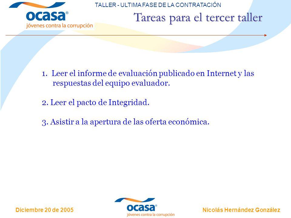 Nicolás Hernández González Diciembre 20 de 2005 TERCER TALLER - ULTIMA FASE DE LA CONTRATACIÓN Tareas para el tercer taller 1. Leer el informe de eval