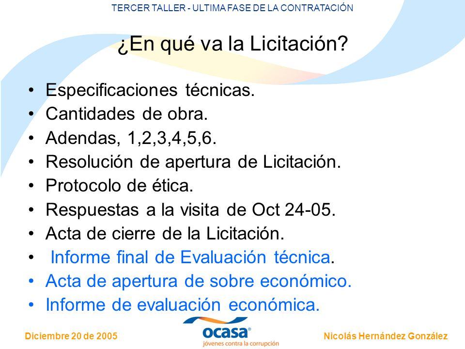 Nicolás Hernández González Diciembre 20 de 2005 TERCER TALLER - ULTIMA FASE DE LA CONTRATACIÓN ¿En qué va la Licitación? Especificaciones técnicas. Ca
