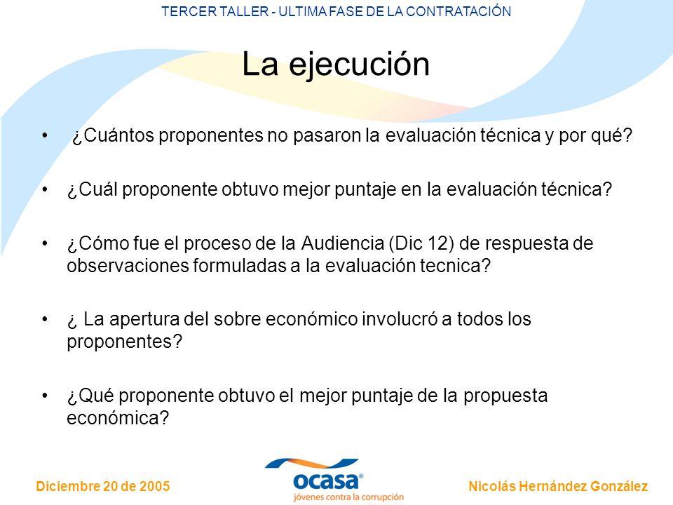Nicolás Hernández González Diciembre 20 de 2005 TERCER TALLER - ULTIMA FASE DE LA CONTRATACIÓN La ejecución ¿Cuántos proponentes no pasaron la evaluación técnica y por qué.