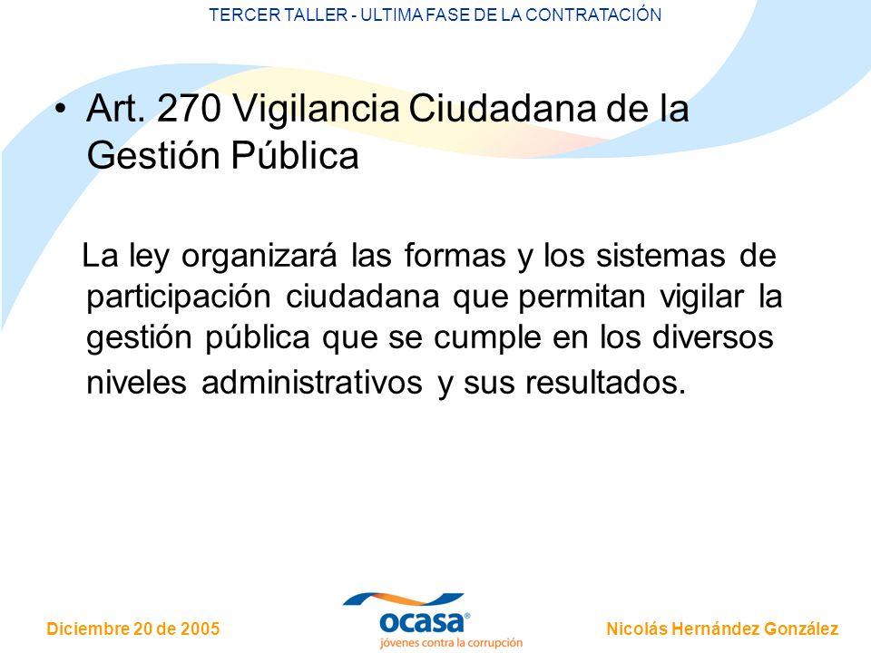 Nicolás Hernández González Diciembre 20 de 2005 TERCER TALLER - ULTIMA FASE DE LA CONTRATACIÓN Art. 270 Vigilancia Ciudadana de la Gestión Pública La
