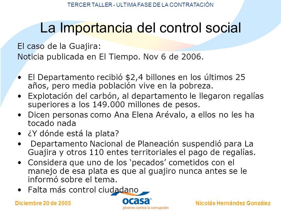 Nicolás Hernández González Diciembre 20 de 2005 TERCER TALLER - ULTIMA FASE DE LA CONTRATACIÓN La Importancia del control social El caso de la Guajira