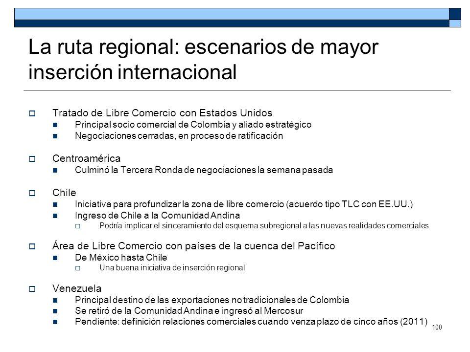 100 La ruta regional: escenarios de mayor inserción internacional Tratado de Libre Comercio con Estados Unidos Principal socio comercial de Colombia y
