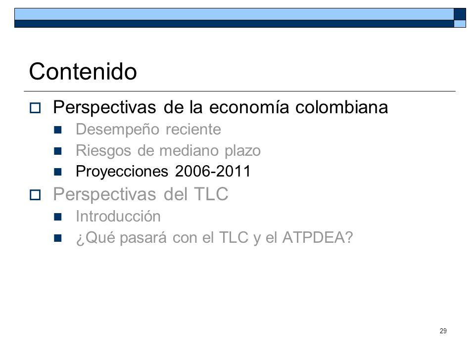 29 Contenido Perspectivas de la economía colombiana Desempeño reciente Riesgos de mediano plazo Proyecciones 2006-2011 Perspectivas del TLC Introducci
