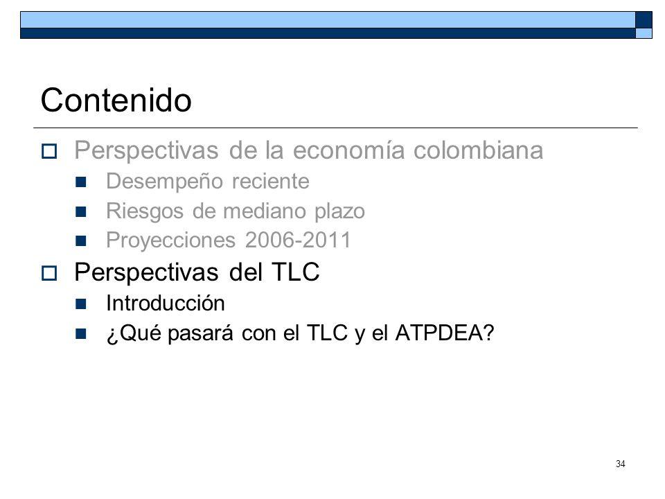 34 Contenido Perspectivas de la economía colombiana Desempeño reciente Riesgos de mediano plazo Proyecciones 2006-2011 Perspectivas del TLC Introducci
