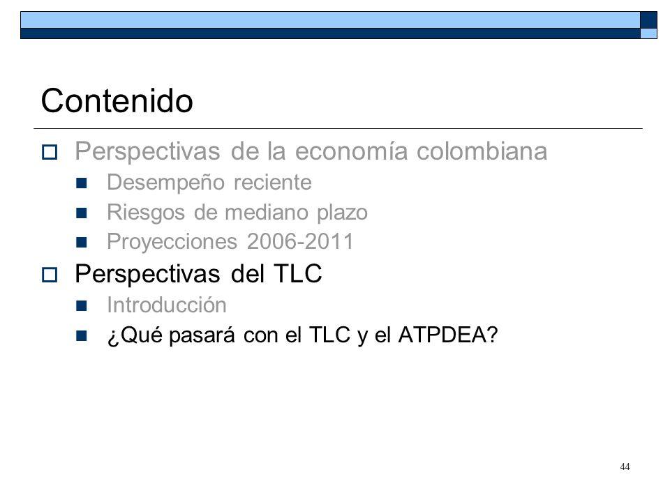 44 Contenido Perspectivas de la economía colombiana Desempeño reciente Riesgos de mediano plazo Proyecciones 2006-2011 Perspectivas del TLC Introducci