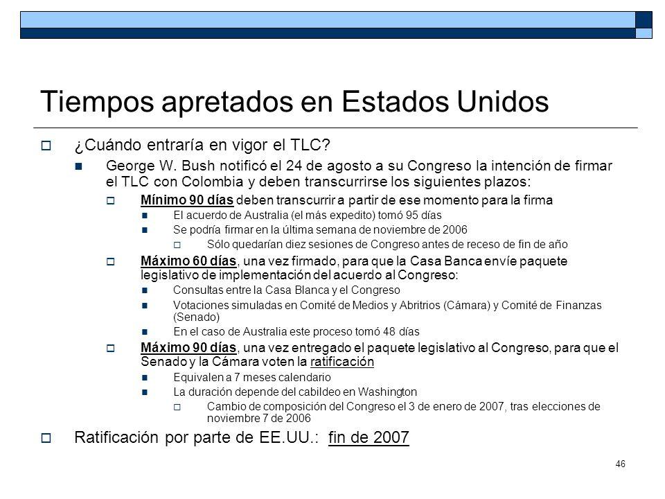 46 Tiempos apretados en Estados Unidos ¿Cuándo entraría en vigor el TLC? George W. Bush notificó el 24 de agosto a su Congreso la intención de firmar