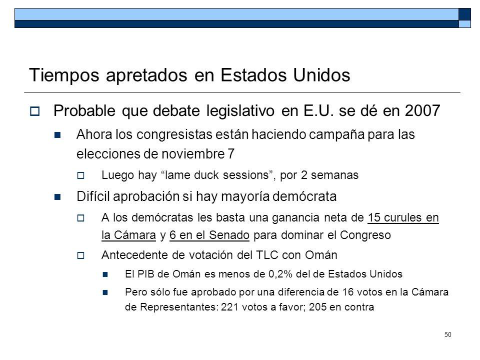 50 Tiempos apretados en Estados Unidos Probable que debate legislativo en E.U. se dé en 2007 Ahora los congresistas están haciendo campaña para las el