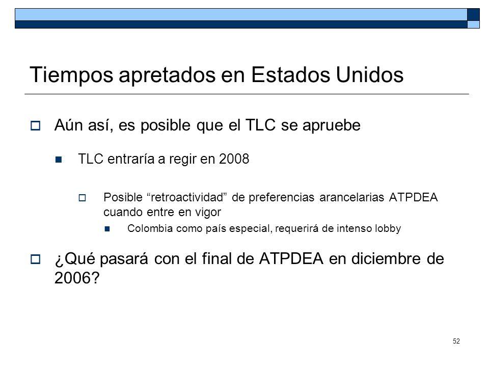 52 Tiempos apretados en Estados Unidos Aún así, es posible que el TLC se apruebe TLC entraría a regir en 2008 Posible retroactividad de preferencias a