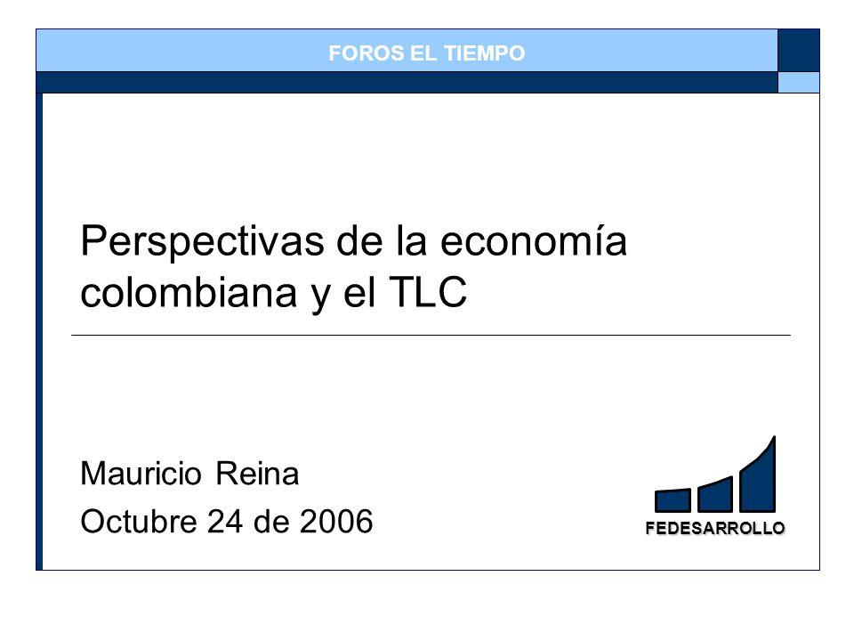 FEDESARROLLO Perspectivas de la economía colombiana y el TLC Mauricio Reina Octubre 24 de 2006 FOROS EL TIEMPO
