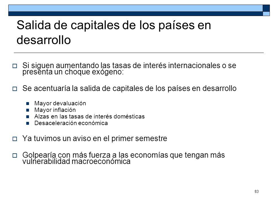83 Salida de capitales de los países en desarrollo Si siguen aumentando las tasas de interés internacionales o se presenta un choque exógeno: Se acent