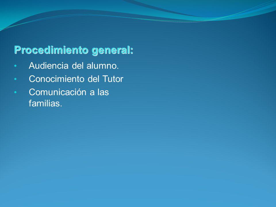 Procedimiento general: Audiencia del alumno. Conocimiento del Tutor Comunicación a las familias.