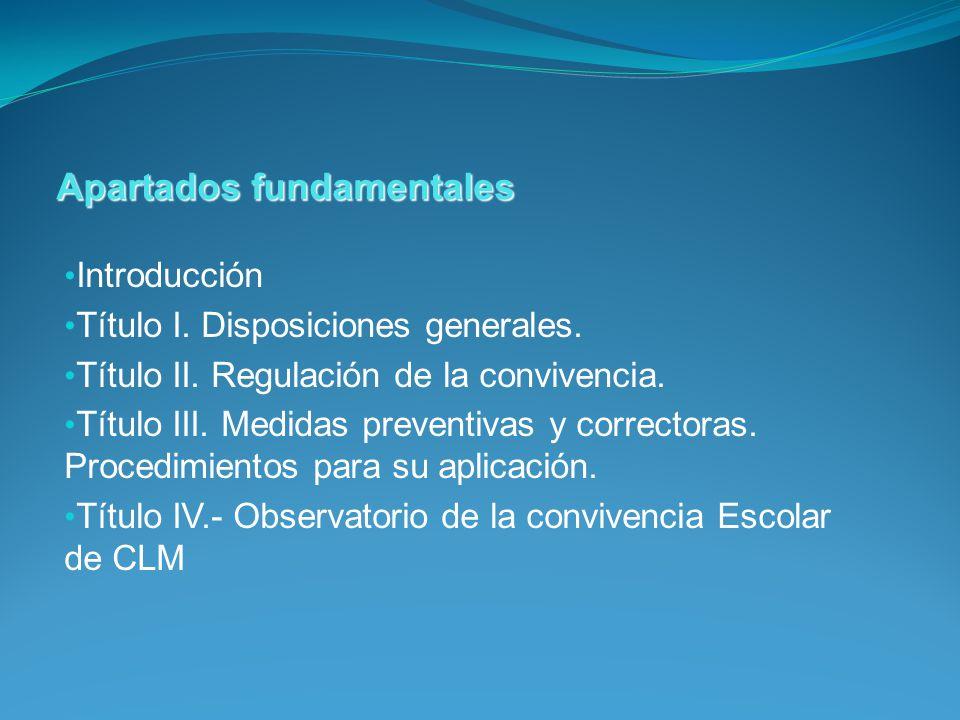 Introducción Título I. Disposiciones generales. Título II. Regulación de la convivencia. Título III. Medidas preventivas y correctoras. Procedimientos