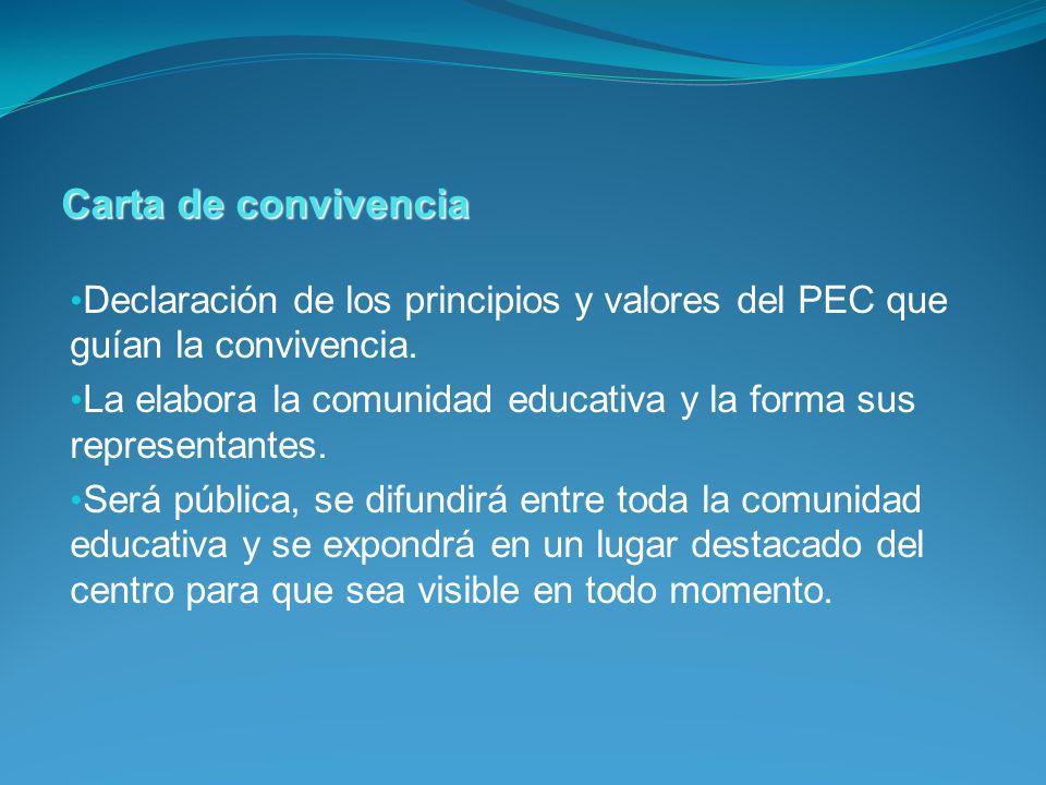 Declaración de los principios y valores del PEC que guían la convivencia. La elabora la comunidad educativa y la forma sus representantes. Será públic