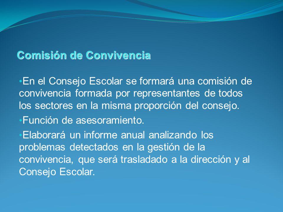 En el Consejo Escolar se formará una comisión de convivencia formada por representantes de todos los sectores en la misma proporción del consejo. Func