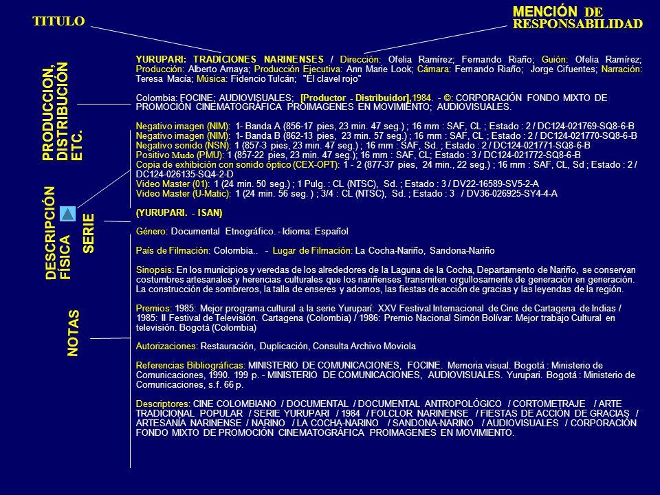YURUPARI: TRADICIONES NARINENSES / Dirección: Ofelia Ramírez; Fernando Riaño; Guión: Ofelia Ramírez; Producción: Alberto Amaya; Producción Ejecutiva: