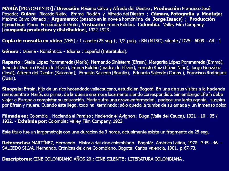 MARÍA [ FRAGMENTO ] / Dirección: Máximo Calvo y Alfredo del Diestro ; Producción: Francisco José Posada; Guión: Ricardo Nieto, Emma Roldán y Alfredo d