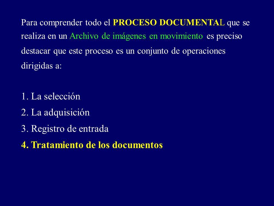 Para comprender todo el PROCESO DOCUMENTAL que se realiza en un Archivo de imágenes en movimiento es preciso destacar que este proceso es un conjunto