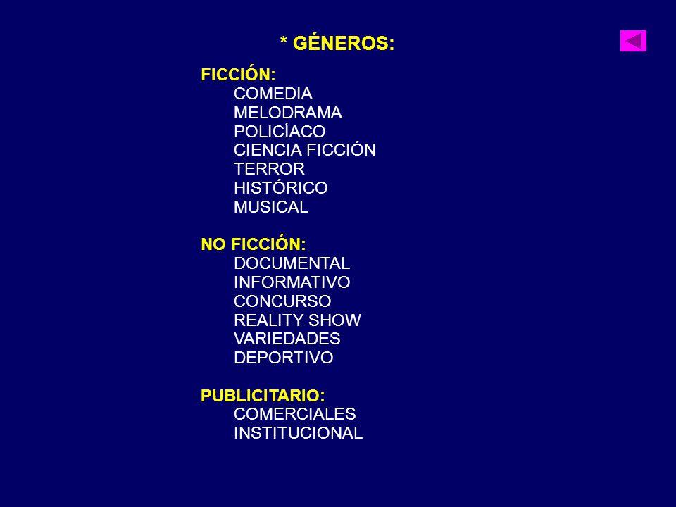 * GÉNEROS: FICCIÓN: COMEDIA MELODRAMA POLICÍACO CIENCIA FICCIÓN TERROR HISTÓRICO MUSICAL NO FICCIÓN: DOCUMENTAL INFORMATIVO CONCURSO REALITY SHOW VARI