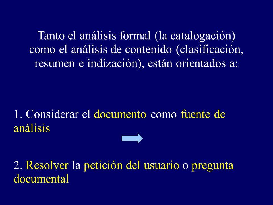 Tanto el análisis formal (la catalogación) como el análisis de contenido (clasificación, resumen e indización), están orientados a: 1. Considerar el d