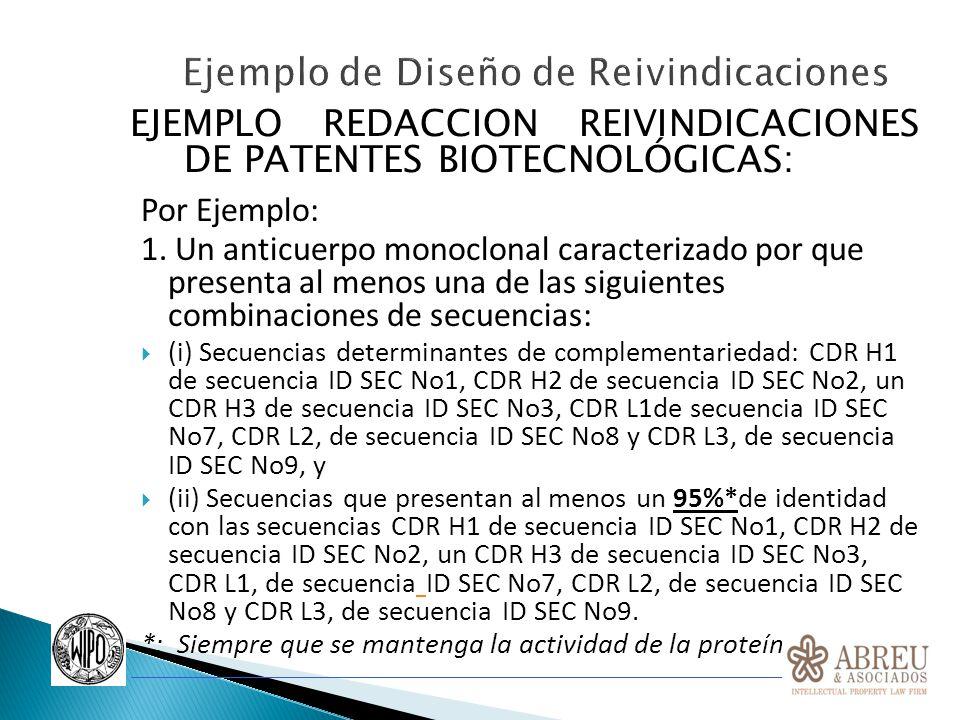 EJEMPLO REDACCION REIVINDICACIONES DE PATENTES BIOTECNOLÓGICAS: Por Ejemplo: 1. Un anticuerpo monoclonal caracterizado por que presenta al menos una d