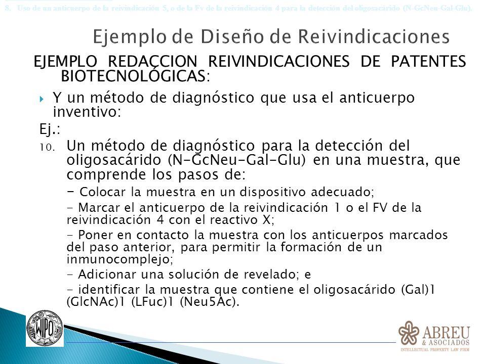 EJEMPLO REDACCION REIVINDICACIONES DE PATENTES BIOTECNOLÓGICAS: Y un método de diagnóstico que usa el anticuerpo inventivo: Ej.: 10. Un método de diag