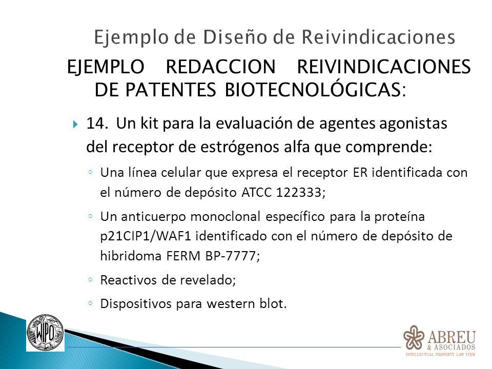EJEMPLO REDACCION REIVINDICACIONES DE PATENTES BIOTECNOLÓGICAS: 14.Un kit para la evaluación de agentes agonistas del receptor de estrógenos alfa que