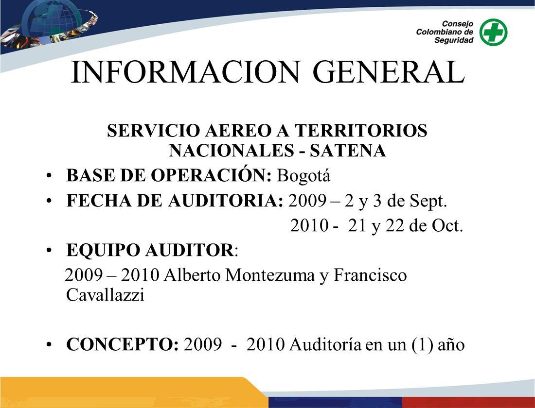 INFORMACION GENERAL SERVICIO AEREO A TERRITORIOS NACIONALES - SATENA BASE DE OPERACIÓN: Bogotá FECHA DE AUDITORIA: 2009 – 2 y 3 de Sept. 2010 - 21 y 2