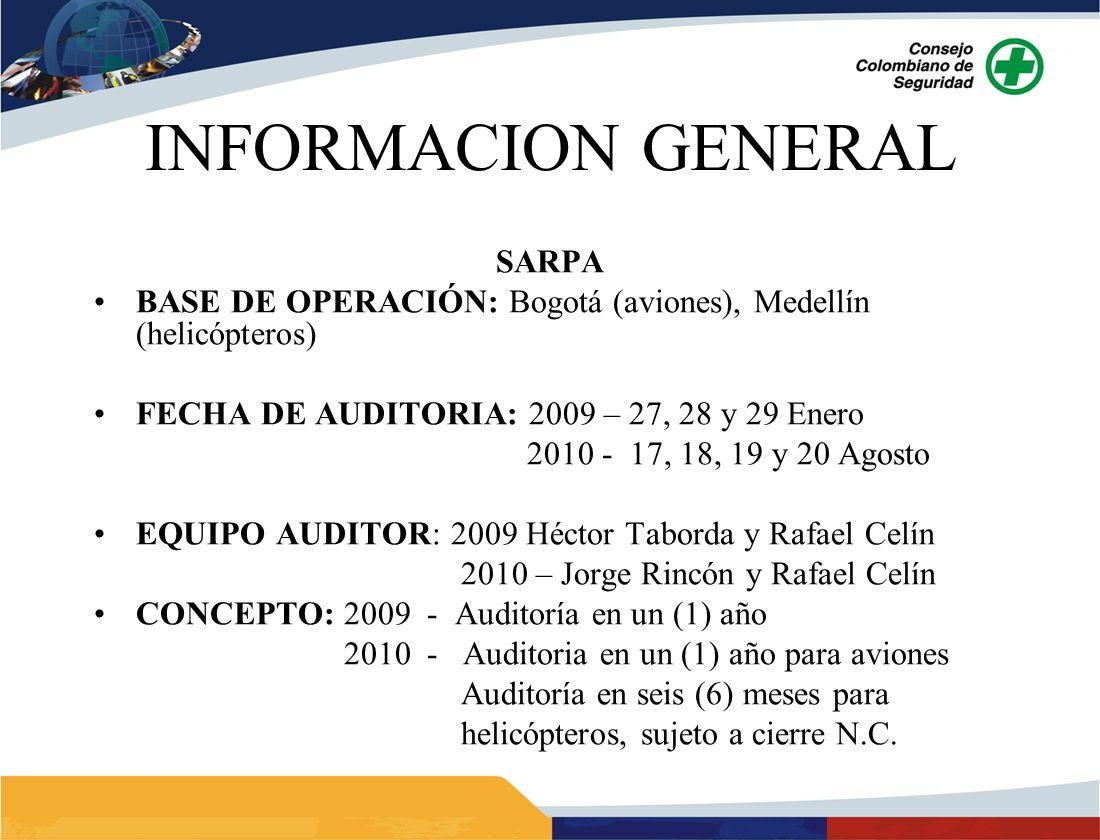 INFORMACION GENERAL SARPA BASE DE OPERACIÓN: Bogotá (aviones), Medellín (helicópteros) FECHA DE AUDITORIA: 2009 – 27, 28 y 29 Enero 2010 - 17, 18, 19 y 20 Agosto EQUIPO AUDITOR: 2009 Héctor Taborda y Rafael Celín 2010 – Jorge Rincón y Rafael Celín CONCEPTO: 2009 - Auditoría en un (1) año 2010 - Auditoria en un (1) año para aviones Auditoría en seis (6) meses para helicópteros, sujeto a cierre N.C.