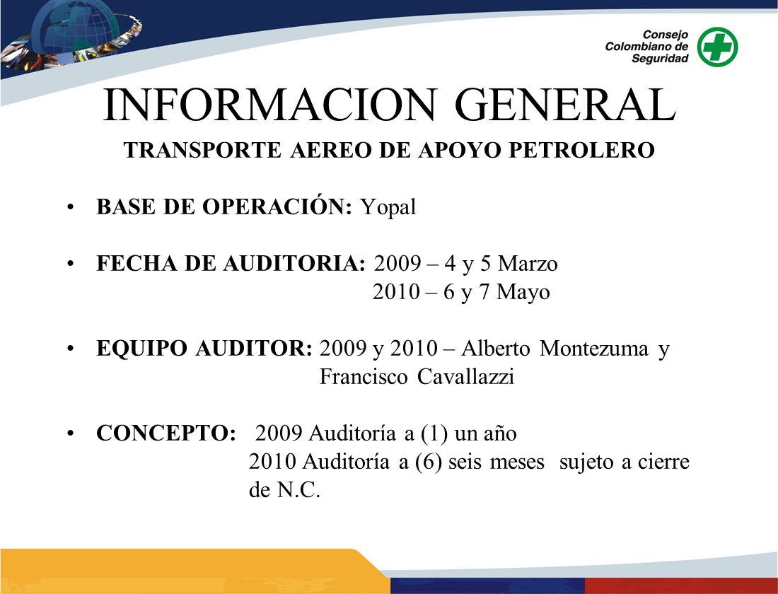 INFORMACION GENERAL TRANSPORTE AEREO DE APOYO PETROLERO BASE DE OPERACIÓN: Yopal FECHA DE AUDITORIA: 2009 – 4 y 5 Marzo 2010 – 6 y 7 Mayo EQUIPO AUDIT
