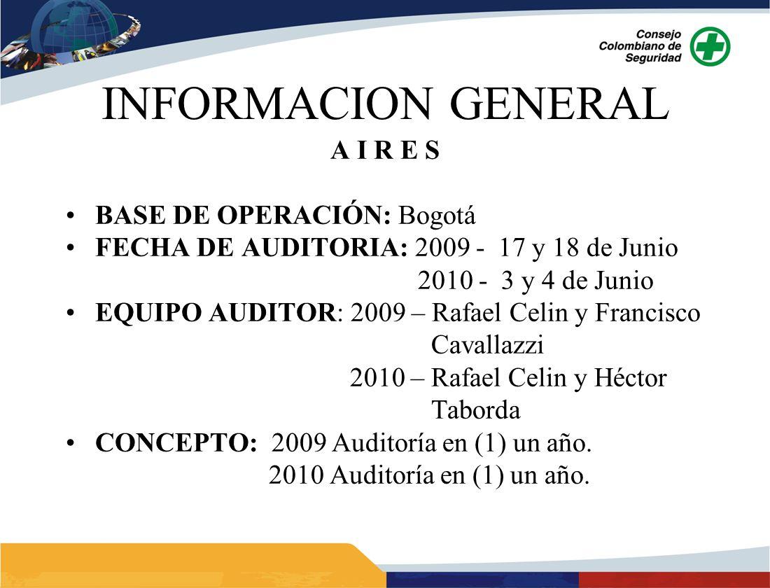INFORMACION GENERAL A I R E S BASE DE OPERACIÓN: Bogotá FECHA DE AUDITORIA: 2009 - 17 y 18 de Junio 2010 - 3 y 4 de Junio EQUIPO AUDITOR: 2009 – Rafael Celin y Francisco Cavallazzi 2010 – Rafael Celin y Héctor Taborda CONCEPTO: 2009 Auditoría en (1) un año.