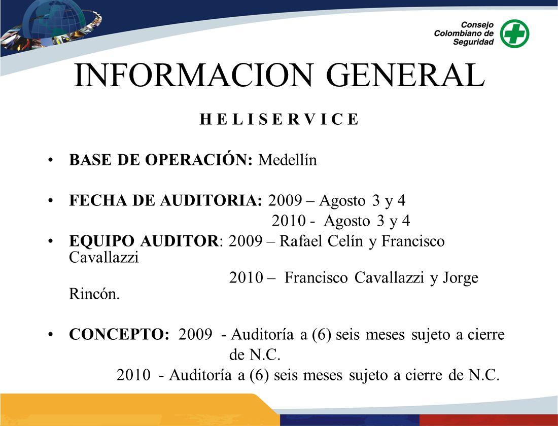INFORMACION GENERAL H E L I S E R V I C E BASE DE OPERACIÓN: Medellín FECHA DE AUDITORIA: 2009 – Agosto 3 y 4 2010 - Agosto 3 y 4 EQUIPO AUDITOR: 2009 – Rafael Celín y Francisco Cavallazzi 2010 – Francisco Cavallazzi y Jorge Rincón.