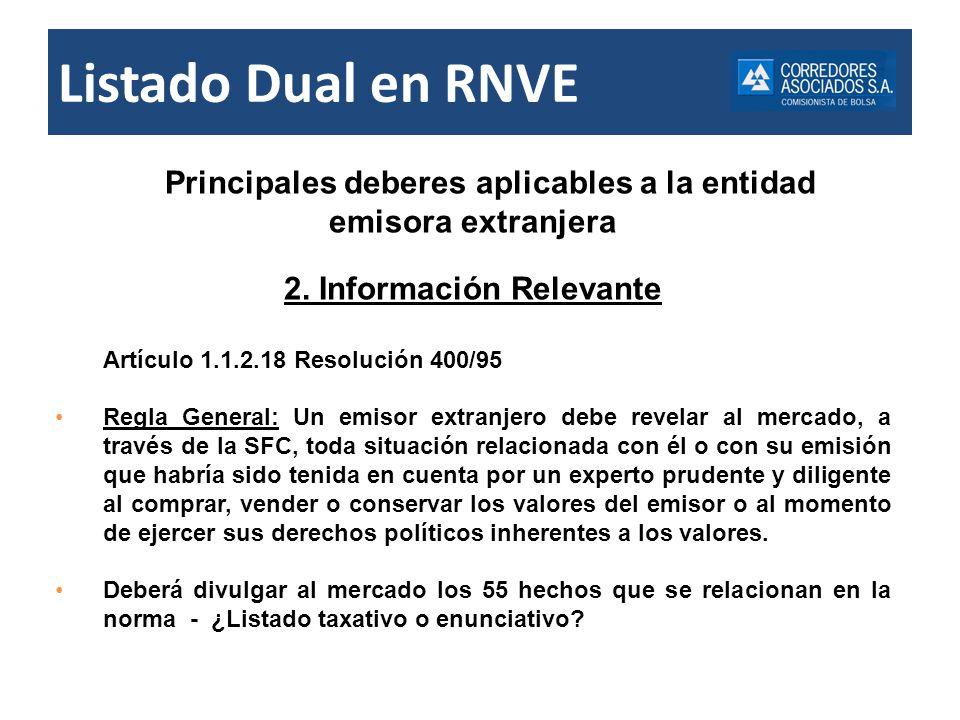 Listado Dual en RNVE Principales deberes aplicables a la entidad emisora extranjera 2. Información Relevante Artículo 1.1.2.18 Resolución 400/95 Regla