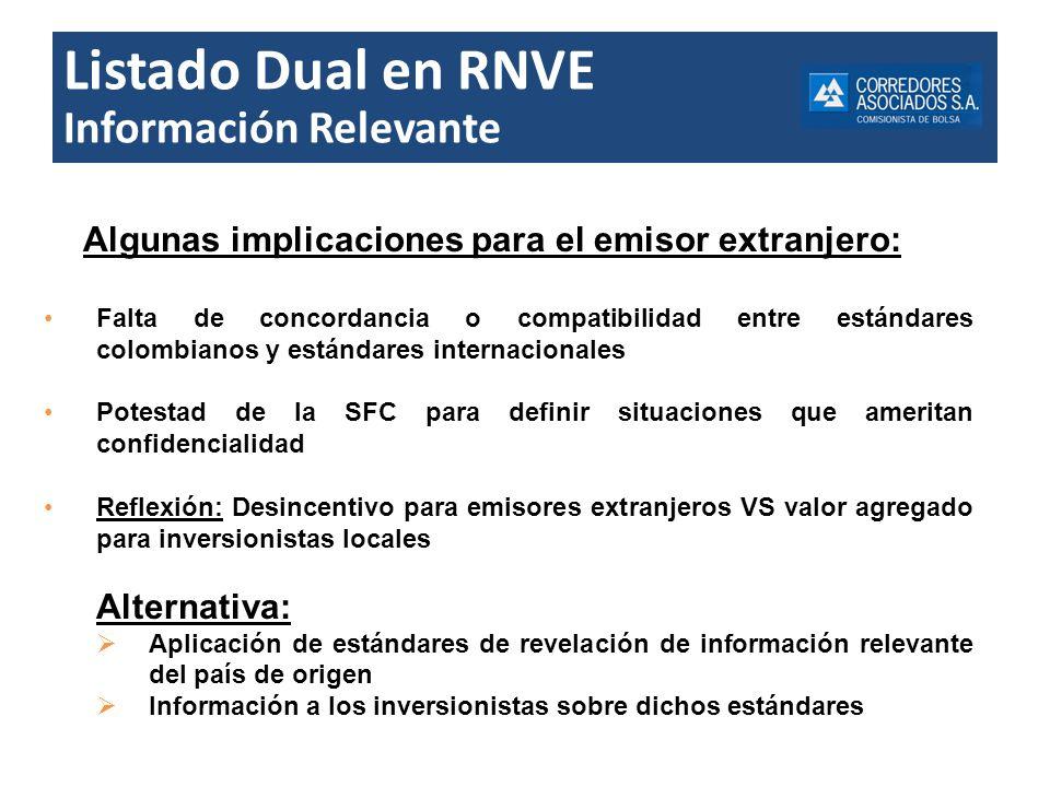 Listado Dual en RNVE Información Relevante Algunas implicaciones para el emisor extranjero: Falta de concordancia o compatibilidad entre estándares co