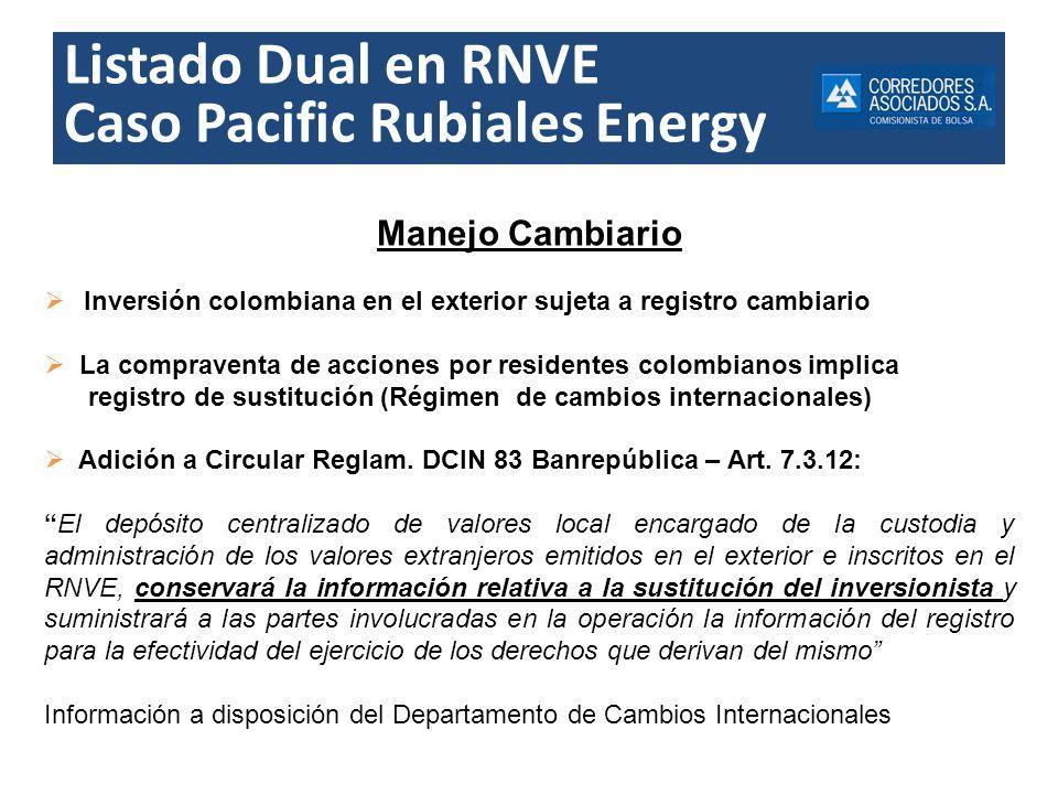 Listado Dual en RNVE Caso Pacific Rubiales Energy Manejo Cambiario Inversión colombiana en el exterior sujeta a registro cambiario La compraventa de a