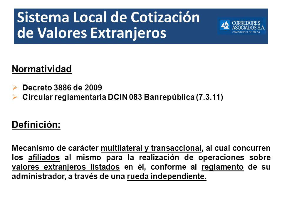 Sistema Local de Cotización de Valores Extranjeros Normatividad Decreto 3886 de 2009 Circular reglamentaria DCIN 083 Banrepública (7.3.11) Definición: