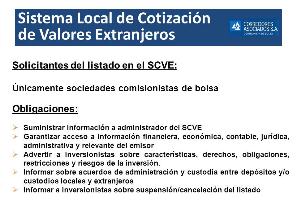 Sistema Local de Cotización de Valores Extranjeros Solicitantes del listado en el SCVE: Únicamente sociedades comisionistas de bolsa Obligaciones: Sum