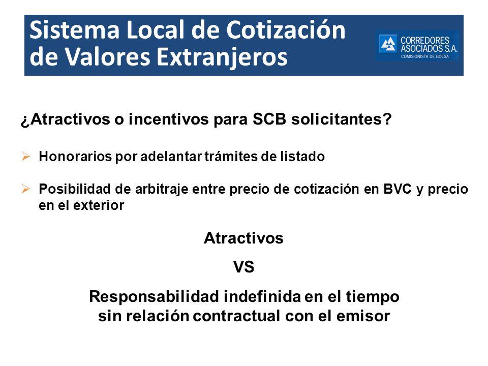 Sistema Local de Cotización de Valores Extranjeros ¿Atractivos o incentivos para SCB solicitantes? Honorarios por adelantar trámites de listado Posibi