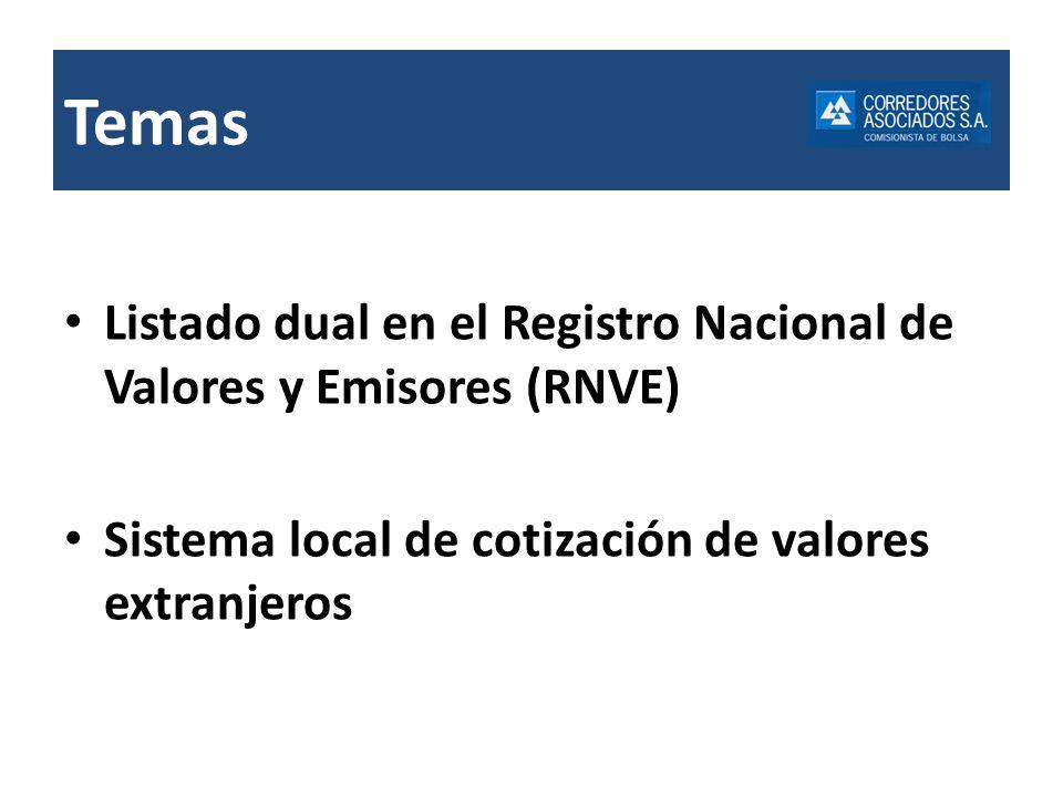 Listado dual en el Registro Nacional de Valores y Emisores (RNVE) Sistema local de cotización de valores extranjeros Temas