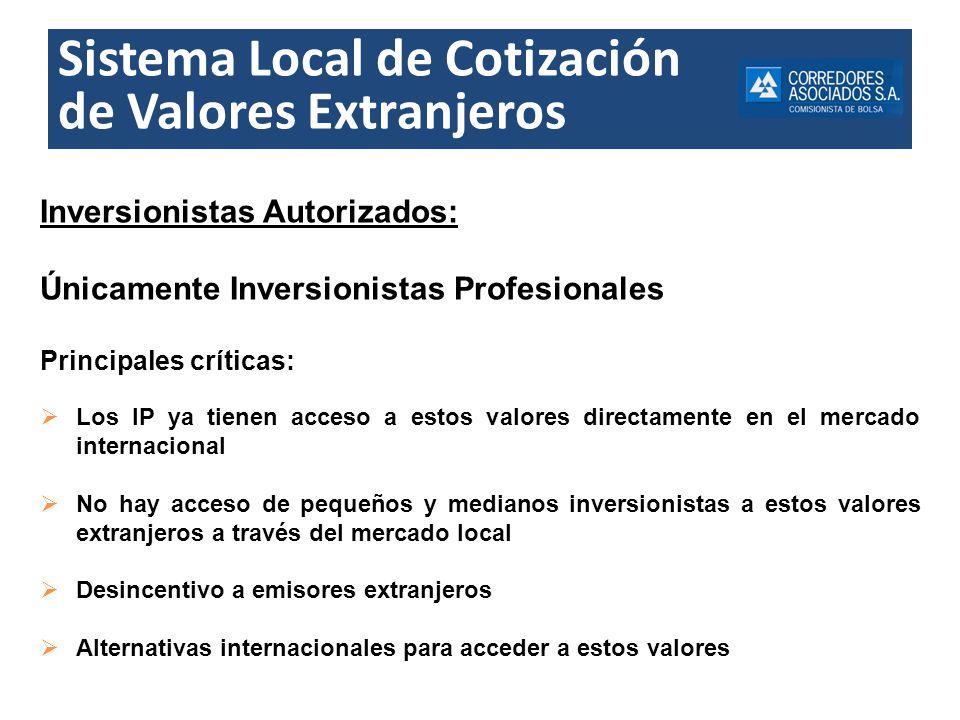 Sistema Local de Cotización de Valores Extranjeros Inversionistas Autorizados: Únicamente Inversionistas Profesionales Principales críticas: Los IP ya