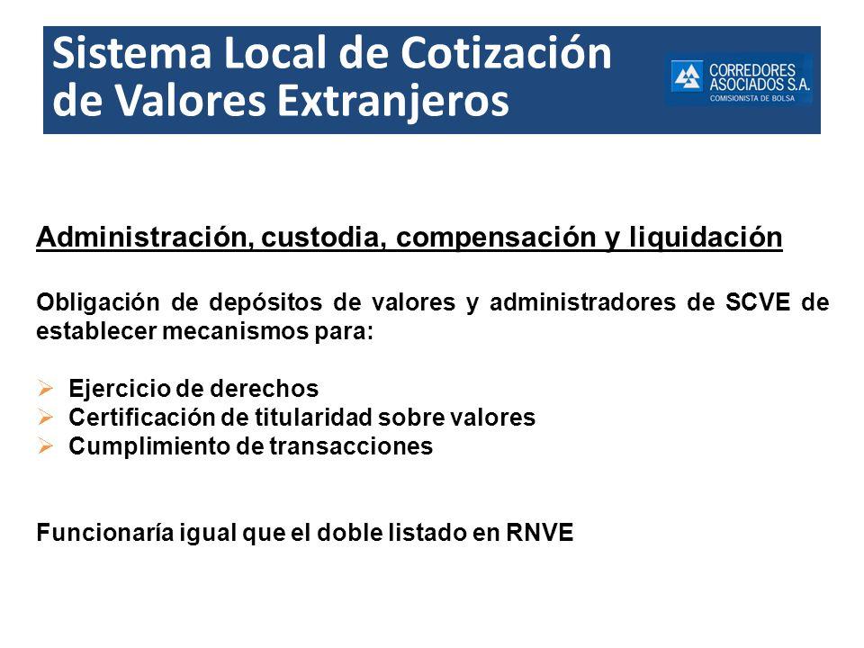 Sistema Local de Cotización de Valores Extranjeros Administración, custodia, compensación y liquidación Obligación de depósitos de valores y administr