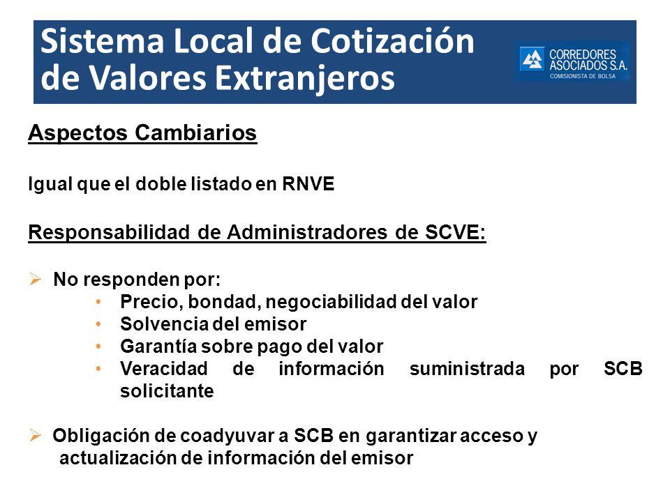 Sistema Local de Cotización de Valores Extranjeros Aspectos Cambiarios Igual que el doble listado en RNVE Responsabilidad de Administradores de SCVE: