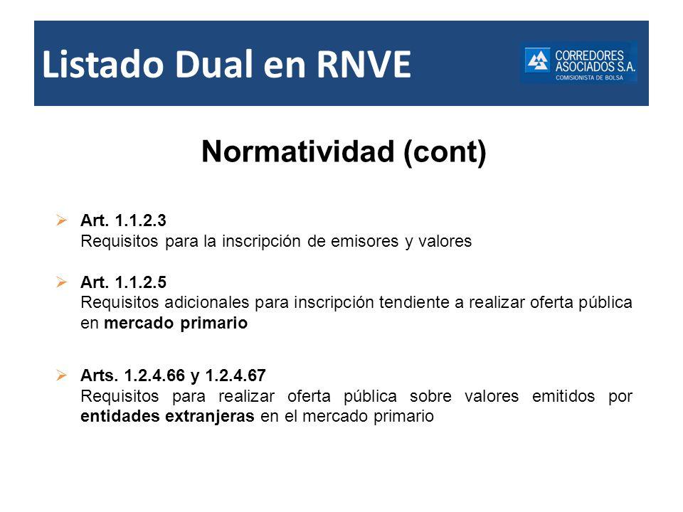 Normatividad (cont) Art. 1.1.2.3 Requisitos para la inscripción de emisores y valores Art. 1.1.2.5 Requisitos adicionales para inscripción tendiente a
